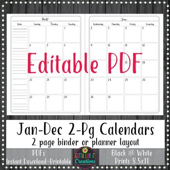 2019 Editable 2 Page Monthly Calendars By Gotta Luv It Creations