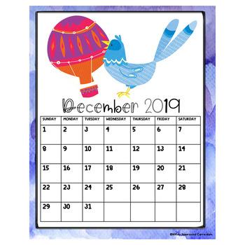 2019 Editable Calendar Printable Bird Theme Classroom Decor