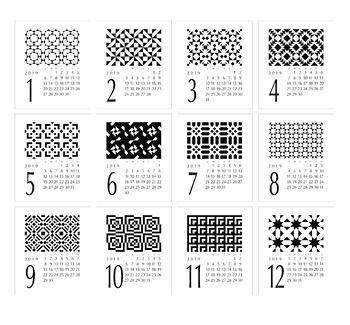 2019 Geometric Desk Calendar with stand - fits CD Jewel Case - Printable PDF