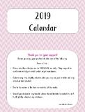 2019 Kawaii Food Calendar