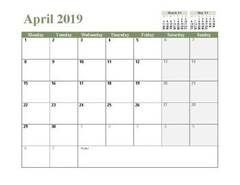 2019 Monthly Calendar