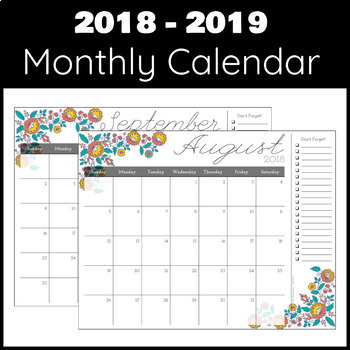 2018 2019 monthly weekly daily calendar planner decorative florals
