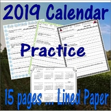 2019 Monthly Calendar Worksheets : 12 Months & Year Review : LINED PAPER