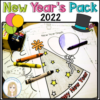 2019 New Year's Pack: Glyph, Graphs, Writing Papers, Crown, Coloring Page