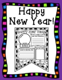 Happy New Year 2019 New Year's Goals and Resolutions Kid Friendly Pennant