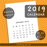 2019 Printable Blank Calendar