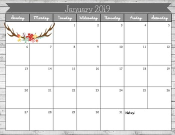 2019 Printable Calendar- Shiplap Boho Rustic Floral Theme