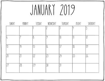2019 Printable Calendars