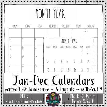 2020 Printable Calendars Minimalistic Design New Year Calendars