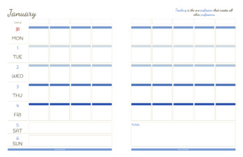 2019 Printable Horizontal Teacher Planner Calendar