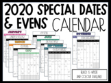 2020 Special Dates and Events Calendar