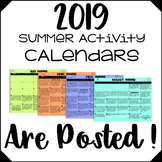 2019 Summer Activity Calendars are POSTED!!!