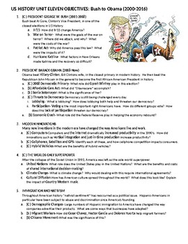 2019 US History STAAR Unit 11 Objectives and Most Tested Topics: Bush to Obama