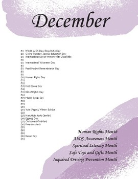 2019 US Holiday and Event Calendar (Purple)