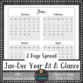 2020 Yearly At A Glance Planner Insert or Teacher Binder Page