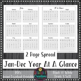 2019 Yearly At A Glance Planner Insert or Teacher Binder Page