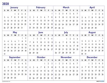 2020-2021 Academic Calendar Printable Year At a Glance w ...
