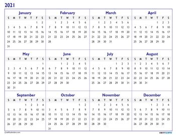 At A Glance 2021 Calendar 2020 2021 Academic Calendar Printable Year At a Glance w/ bonus