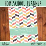 2020-2021 Editable Homeschool Teacher Planner - Herringbon