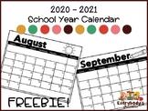 2020 - 2021 School Year Calendar FREEBIE