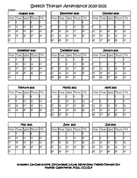 2020 2021 Speech Therapy Attendance Calendar by Speech Therapy