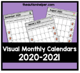 2020-2021 Visual Monthly Calendars for Children with Autism