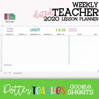 2020 AVERY Dated Google Sheets Weekly, Monthly & Y-A-G Teacher Planner Calendar