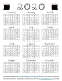 2020 Calendar Black Fabric Font Letters and Numbers with B