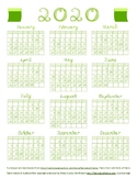 2020 Calendar Green Fabric Font Letters and Numbers with Bolts of Fabric
