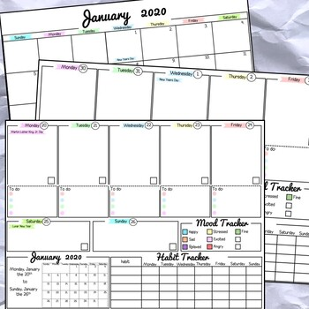2020 Calendar Monthly and Weekly Tracker