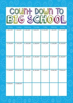 2020 Countdown to Big School EDITABLE Calendar for Australian Schools