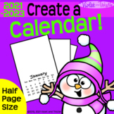 2021 Calendar HALF-PAGE {Calendar Printable} Parent Christmas Gift for Parent D1