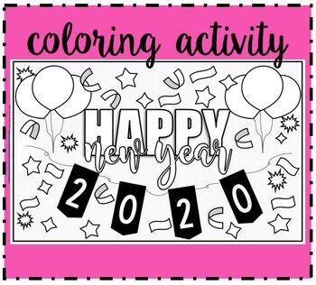 Happy New Year Coloring Page Worksheets Teaching Resources Tpt