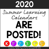 2020 K-5 Summer Distance Learning Calendars are POSTED!