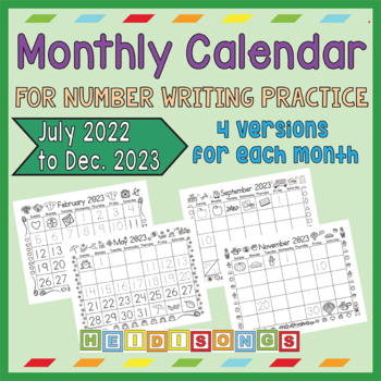 2020 Monthly Calendar for Number Writing Practice