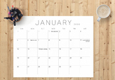 2019-2020 Monthly Printable and Editable calendar (pdf)   Minimal