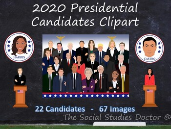 2020 Presidential Candidate Clipart (13 Candidates/40 Images/Updated frequently)