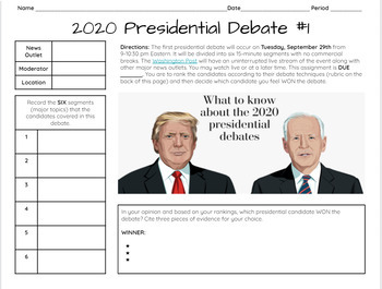 Presidential Debate Worksheets Teaching Resources Tpt