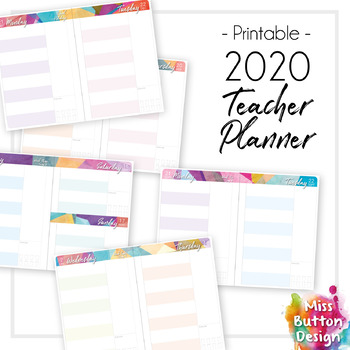 2020 Printable Teacher Diary Planner - Day to a Page - Geometric Pattern