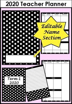 2020 Teacher Planner Black and White Polka Dot (with editable name section)