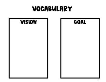 2020 Vision Board Brainstorming Worksheet & Key Vocabulary Terms