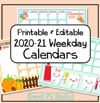 2020 Weekday Calendars - Printable/Editable