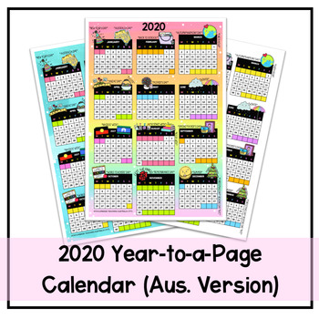 2020 Year-to-a-Page Calendar (Australian Version)