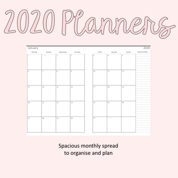 2020 Yearly Planner (with Aqua accent)