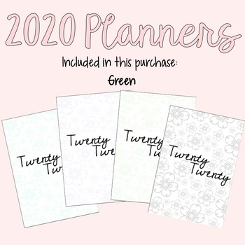 2020 Yearly Planner (with Green accent)