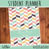 2021-2022 Editable Student Planner - Herringbone - Pink/Green