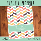 2021-2022 Editable Teacher Planner - Herringbone - Pink/Green