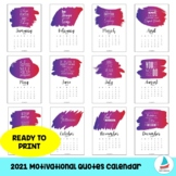 2021 Calendar With Motivational Quotes | Students Teachers