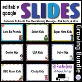Editable GOOGLE SLIDES 4 Morning Messages, Task Cards, & M