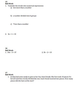 205 Algebra 1 Bell Work Activities for the Whole Year